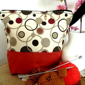 Project Bag – Retro Polka Dots – For Knitting and Crochet Projects