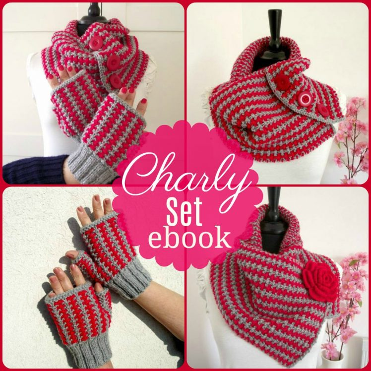 two colors cowl and mittens knitting patterns ebook