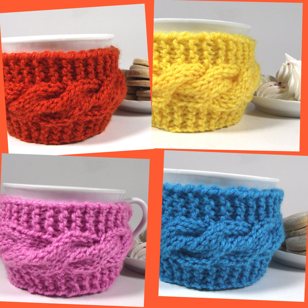 cozy cups knitting pattern cable knitting stitch tea coffee cozy cups by Lilia Vanini Liliacraftparty