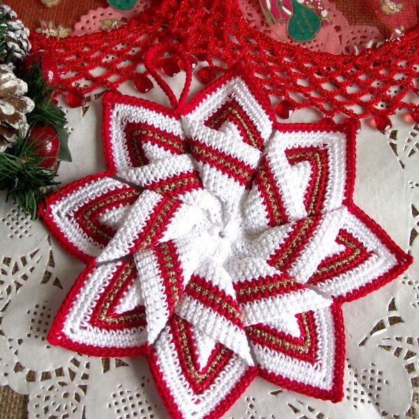 Christmas Star Pot Holder Crochet Pattern Liliacraftparty