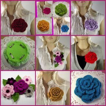 Crochet Flowers Brooch Pin Liliacraftparty