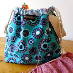 Drawstring Project Bag – Blue Teal Circles –