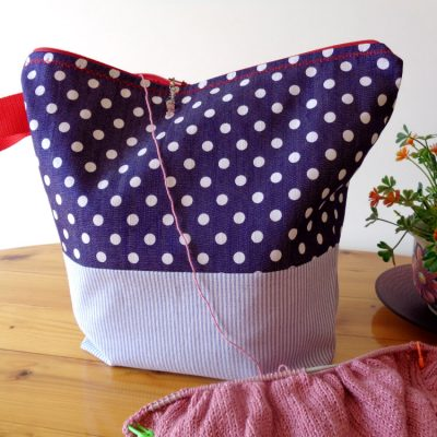 Knitting Project Bag Large Zippered – Blue and Polka Dots – For Knitting and Crochet Projects
