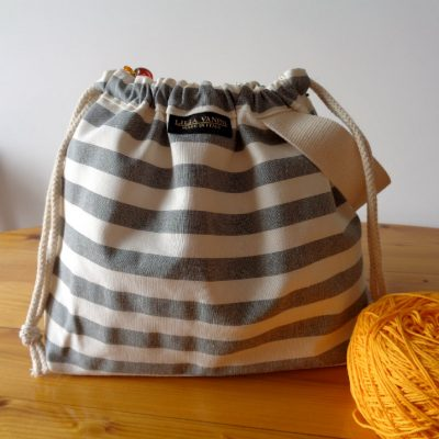 Striped Drawstring Knitting Project Bag – Gray/White