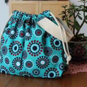 Drawstring Knitting Project Bag – Blue Teal Circles –