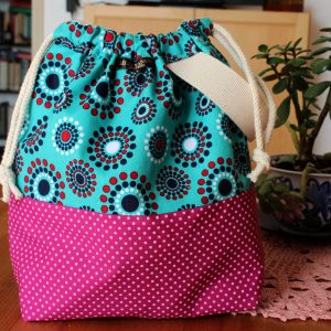 Wristlet Drawstring Knitting Project Bag – Retro Polka