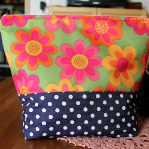 Wristlet Large Project Bag Large zippered – Multi Floral – For Knitting and Crochet Projects