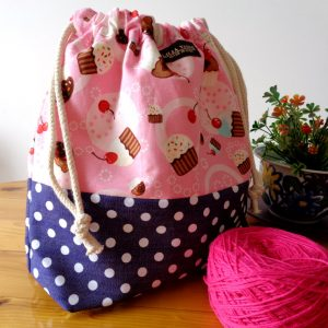 Drawstring Wristlet Knitting Project Bag – Cupcakes Polkadots – Crafts Bag