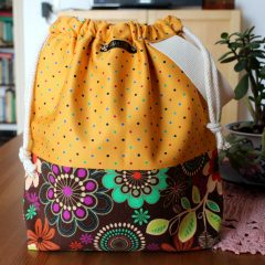 Drawstring Knitting Project Bag – Floral Polka