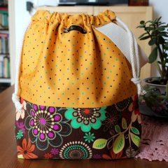 Drawstring Knitting Project Bag – Floral Polka
