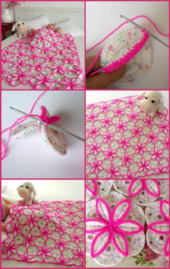 flowers crochet baby blanket patterns by Lilia Vanini Liliacraftparty