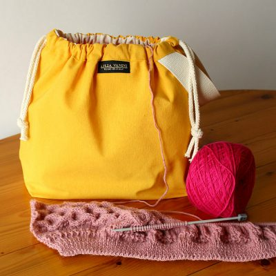 Drawstring Wristlet Project Bag – Popular Yellow – Canvas Drawstring Bag