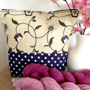 Wristlet Knitting Project Bag Large Zippered – Floral Blue – Crafts Bag with zipper closure