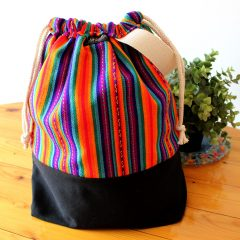 Drawstring Wristlet Knitting Project Bag – Authentic Peruvian Manta Wool Fabric – Large Crafts Bag