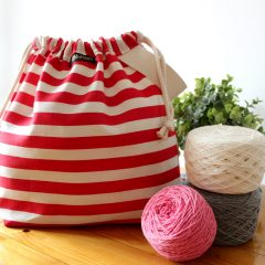 Striped Wristlet Drawstring Knitting Project Bag – Red/White – Crafts Bag