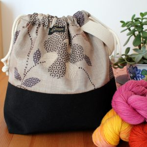 Drawstring Wristlet Project Bag – Floral Gray