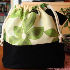 Drawstring Wristlet Project Bag – Floral Green