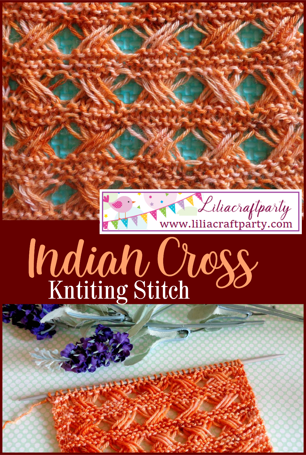 Indian Cross Knitting Stitch learn how to knit easy tutorial knitting stitch