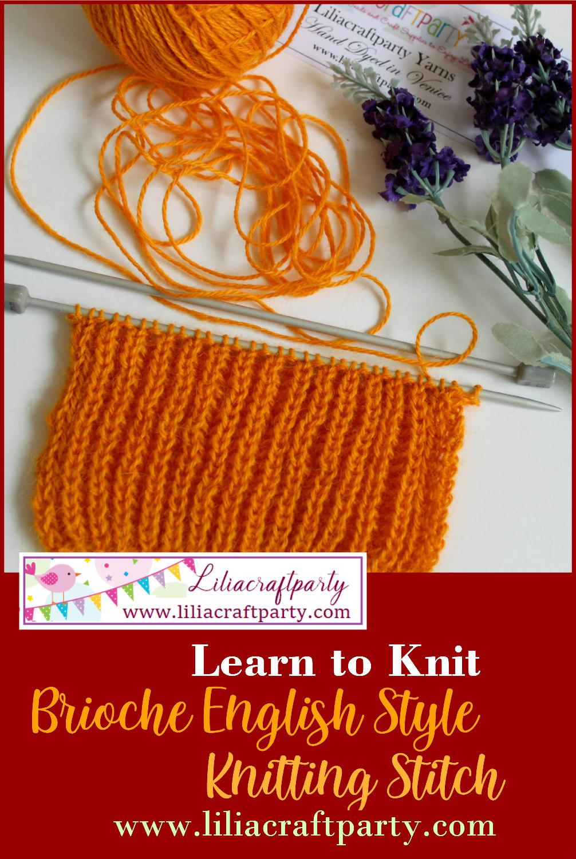 Brioche Knitting Stitch English Style pattern tutorial by Lilia Vanini Liliacraftparty