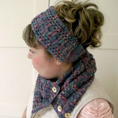 lace knitting headband and lace knitting cowl with buttons