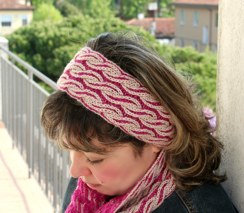 brioche knitting headband easy knitting two colors brioche hair accessory knitting pdf pattern