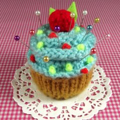 Blue Frosting Cupcake Pincushion