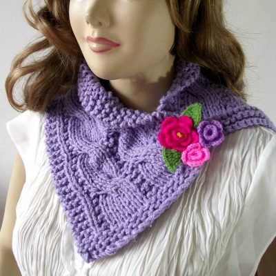 cables cowl knitting pattern with crochet flowers