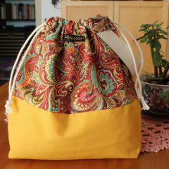 Drawstring Wristlet Knitting Project Bag – Yellow Paisley – Luxury Bag