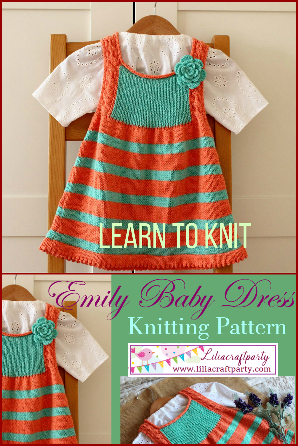 Striped baby dress in orange and mint Emily Baby Dress Jumper knitting pattern to learn