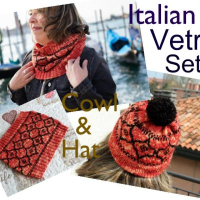 Fair Isle Cowl and Hat Knitting patterns two colors easy knitting cowl and hat with pompom
