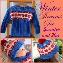 Baby Cardigan Fair isle blue red white easy fair isle hat knitting pattern
