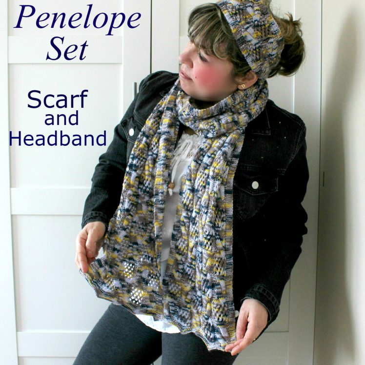 Easy lace scarf and headband set knitting pattern