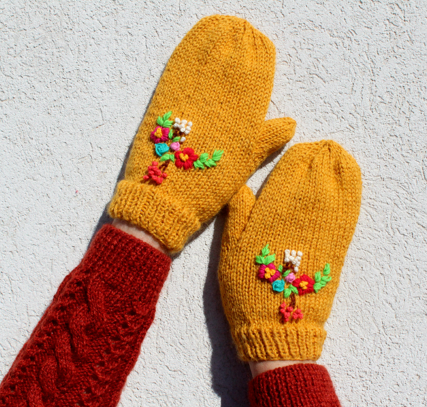 Embroidery Floral Bouquet Mittens Gloves knitting pattern two mitts gloves with flowers embroidery