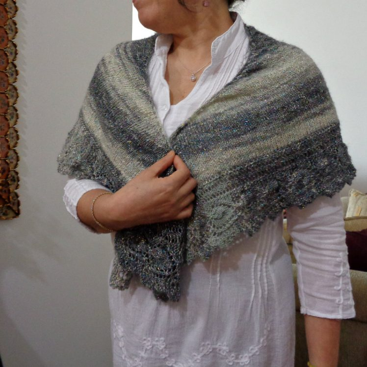 Lace Shawl Knitting pattern using Lion Brand Shawl in a cake easy lace knitting by Lilia Vanini Liliacraftparty