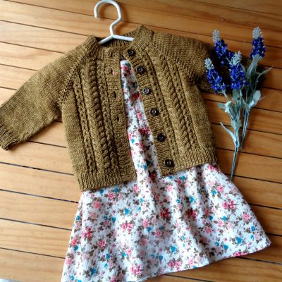 Velvet Acorn Baby Cardigan knitting pattern